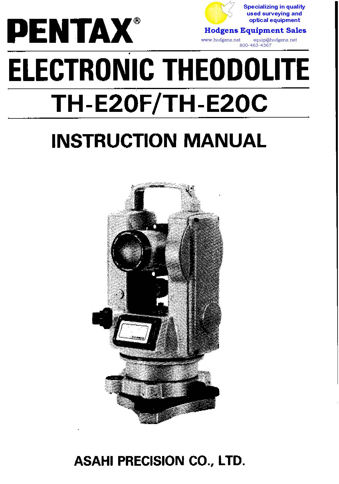 Pentax electronic theodolite th e20c th e20f instruction for Roca 20 20f manual