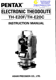 Pentax Electronic Theodolite TH-E20C/TH-E20F Instruction Manual | Documents and Forms | Manuals