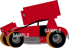 winged sprint car red clipart download