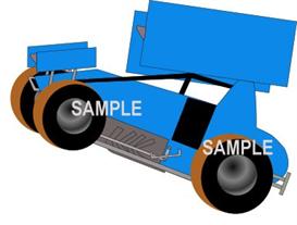 wheelie sprint car med blue clipart download