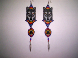 Peyote/Brick Stitch Wolf Delica Seed Beading Earring Pattern-215 | Other Files | Arts and Crafts