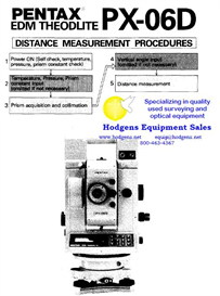 Pentax PX-06D EDM Theodolite Distance Measurement Procedure | Documents and Forms | Manuals