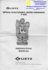 Lietz Optical Theodolite T-60D Instruction Manual | Documents and Forms | Manuals