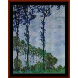 Poplars, Wind Effect - Monet cross stitch pattern by Cross Stitch Collectibles | Crafting | Cross-Stitch | Wall Hangings