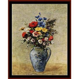 Flowers in Blue Vase - Redon cross stitch pattern by Cross Stitch Collectibles | Crafting | Cross-Stitch | Wall Hangings
