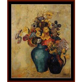 flowers, 1905 - redon cross stitch pattern by cross stitch collectibles