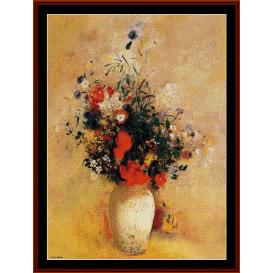 flowers in chinese vase - redon cross stitch pattern by cross stitch collectibles