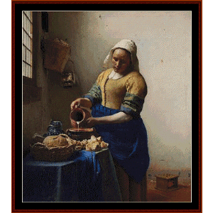 the milkmaid - vermeer cross stitch pattern by cross stitch collectibles