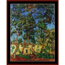 grounds of the asylum - van gogh cross stitch pattern by cross stitch collectibles