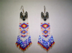 Brick Stitch Delica Seed Beading Wolf Fringe Earring Pattern-225 | Other Files | Arts and Crafts