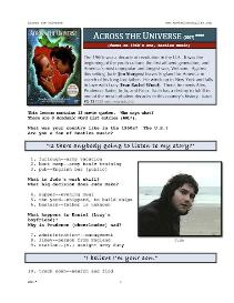 ACROSS THE UNIVERSE, Whole-Movie English (ESL) Lesson | eBooks | Education