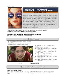 ALMOST FAMOUS, Whole-Movie English (ESL) Lesson | eBooks | Education