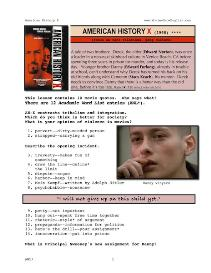AMERICAN HISTORY  X, Whole-Movie English (ESL) Lesson | eBooks | Education