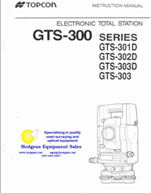 Topcon GTS-300 Series Instruction Manual | Documents and Forms | Manuals