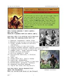 last of the mohicans, whole-movie english (esl) lesson