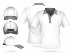 Vectorlib RF (Standard License): Vector. Men polo shirt design template and baseball cap.