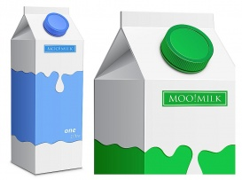 Vectorlib RF (Standard License): Collection of milk boxes. Milk carton with screw cap