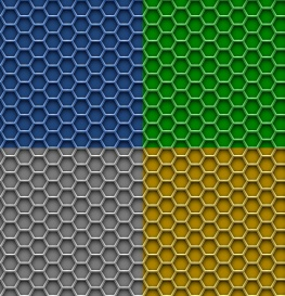 Vectorlib RF (Standard License): 4 seamless honeycomb patterns. Hexagon metal background