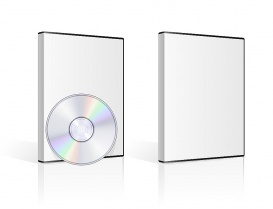 Vectorlib RF (Standard License): DVD case and disk on white background. Vector illustration.