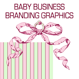 pink and green baby business branding graphics