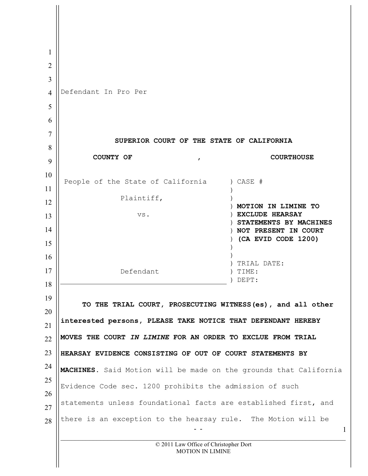 Pre Trial Motions for Traffic Ticket Trials | Documents and Forms ...