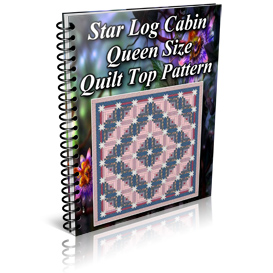 Star Log Cabin Queen Size Quilt Top Pattern | Other Files | Patterns and Templates