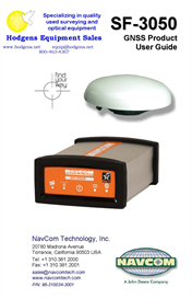 NavCom SF-3050 GNSS Product User Guide | Documents and Forms | Manuals