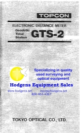 Topcon GTS-2 User Manual | Documents and Forms | Manuals