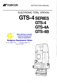 Topcon GTS-4 Series Instruction Manual | Documents and Forms | Manuals
