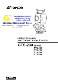 Topcon GTS-230 Series Instruction Manual | Documents and Forms | Manuals