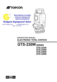 Topcon GTS-230W Series Instruction Manual | Documents and Forms | Manuals
