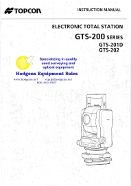 Topcon GTS-200 Series Instruction Manual | Documents and Forms | Manuals