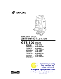 Topcon GTS-600 Series Electronic Total Station Instruction Manual | Documents and Forms | Manuals
