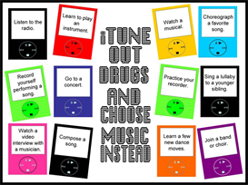 itune out drugs and choose music bulletin board kit