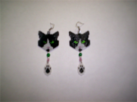 Brick Peyote Stitch Cat Delica Seed Beading Dangle Earring Pattern-230 | Other Files | Arts and Crafts