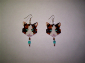Brick Peyote Calico Cat Delica Seed Beading Dangle Earring Pattern-231 | Other Files | Arts and Crafts