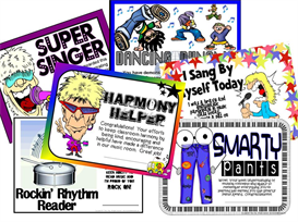 set of 6 certificates for music classroom