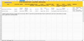 DVD Inventory Spreadsheet
