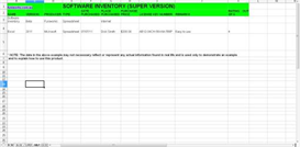 Software Inventory Spreadsheet