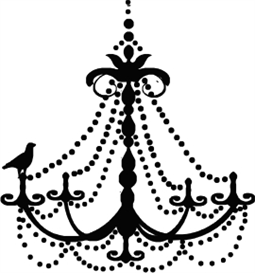 bird on chandelier - machine embroidery file