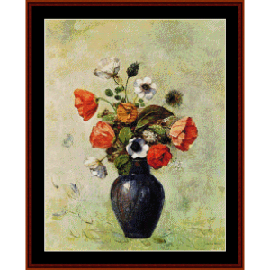 Anemones and Poppies - Redon cross stitch pattern by Cross Stitch Collectibles | Crafting | Cross-Stitch | Wall Hangings