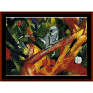 monkey - franz marc cross stitch pattern by cross stitch collectibles