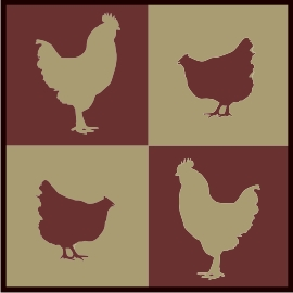 4 Square Chics & Roosters machine embroidery file | Crafting | Sewing | Kitchen