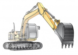 Vectorlib RF (Standard License): detailed vectorial image of yellow crawler excavator with carcass, isolated on white backg...
