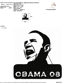 Barack Obama Embroidery Design   Crafting   Sewing   Other