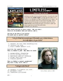 LIMITLESS, Whole-Movie English (ESL) Lesson | eBooks | Education