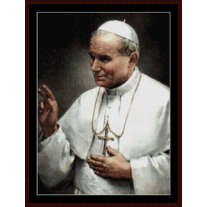 Pope John Paul II - Limited Edition - Religious cross stitch pattern by Cross Stitch Collectibles | Crafting | Cross-Stitch | Wall Hangings