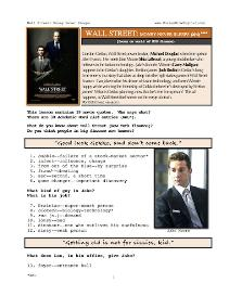 WALL STREET-MONEY NEVER SLEEPS, Whole-Movie English (ESL) Lesson | eBooks | Education