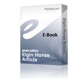Elgin Horse Article | eBooks | Arts and Crafts
