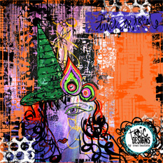 trick or treat halloween digital art journal page by traci bautista